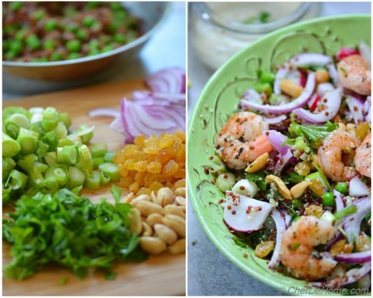 Roasted Shrimp and Quinoa Salad with Ginger-Hemp Dressing