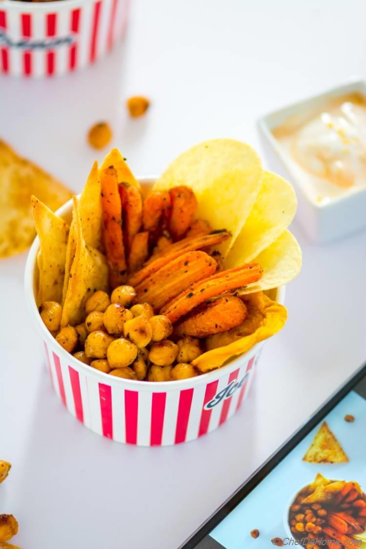 Healthy movie snacks roasted chickpeas carrot fries and baked chips
