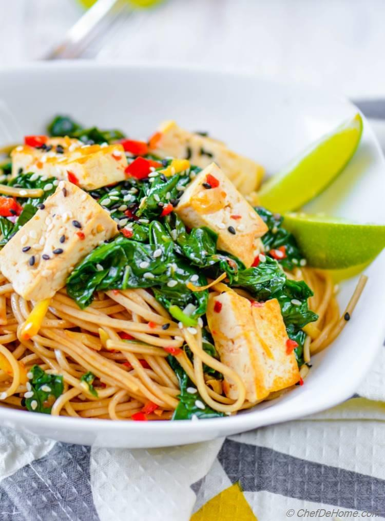Vegan Meatless Monday Dinner of delicious and healthy Soba Noodles stir fry with spinach and coconut lime tofu | chefdehome.com
