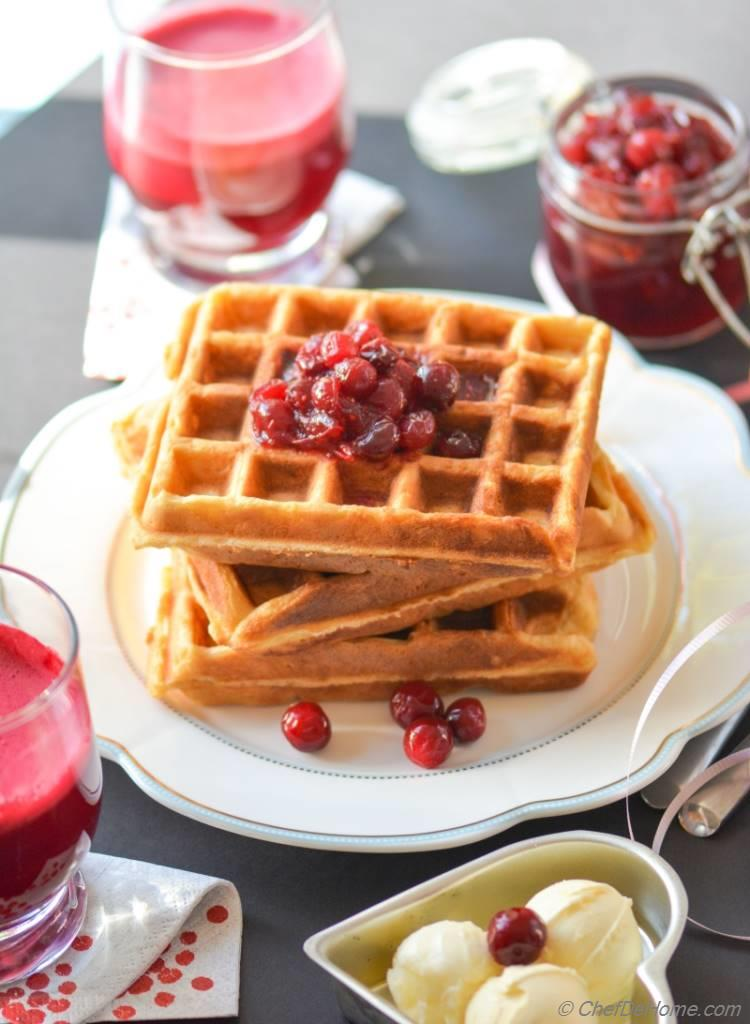 Ginger Spiced Sour Cream Waffles with Stewed Cranberries - breakfast in bed for someone you love
