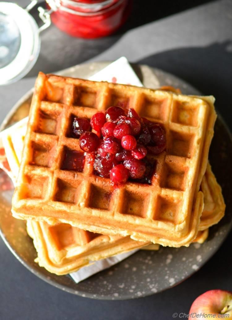 Whole Wheat Sour Cream Waffles with Cranberries Syrup