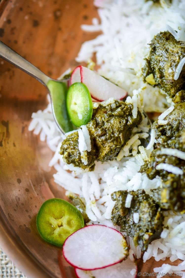 indian Nutri Palak Sabji prepared right with delicious nutrela Soya Chunks cooked Indian spices | chefdehome.com