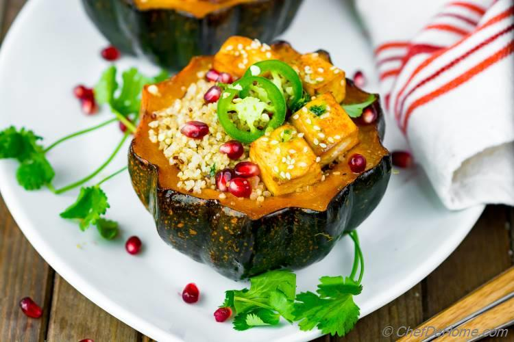 Spicy Baked Acorn Squash with Quinoa Stuffing