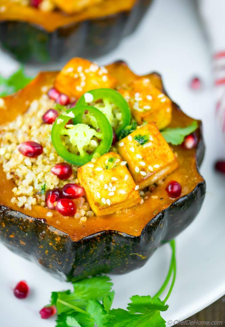 Delicious baked Acorn Squash with Honey and Sriracha