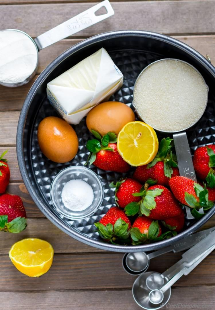 Ingredients for fresh strawberry Pound Cake