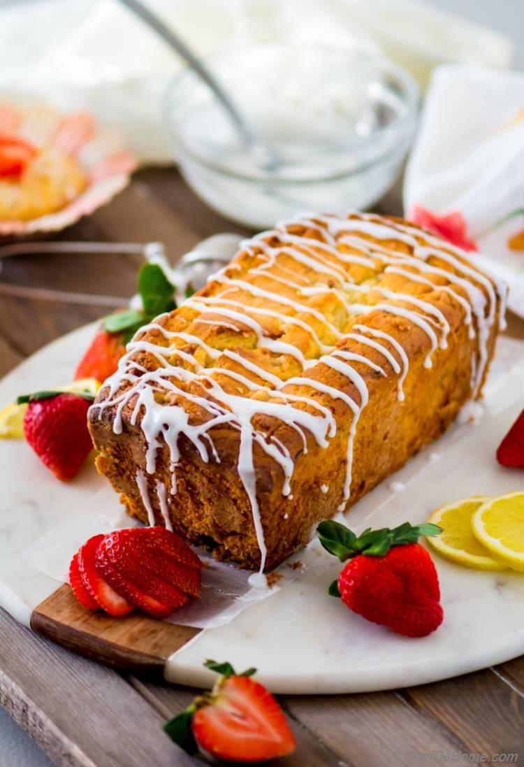 Buttery slice of lemon strawberry Pound Cake | chefdehome.com