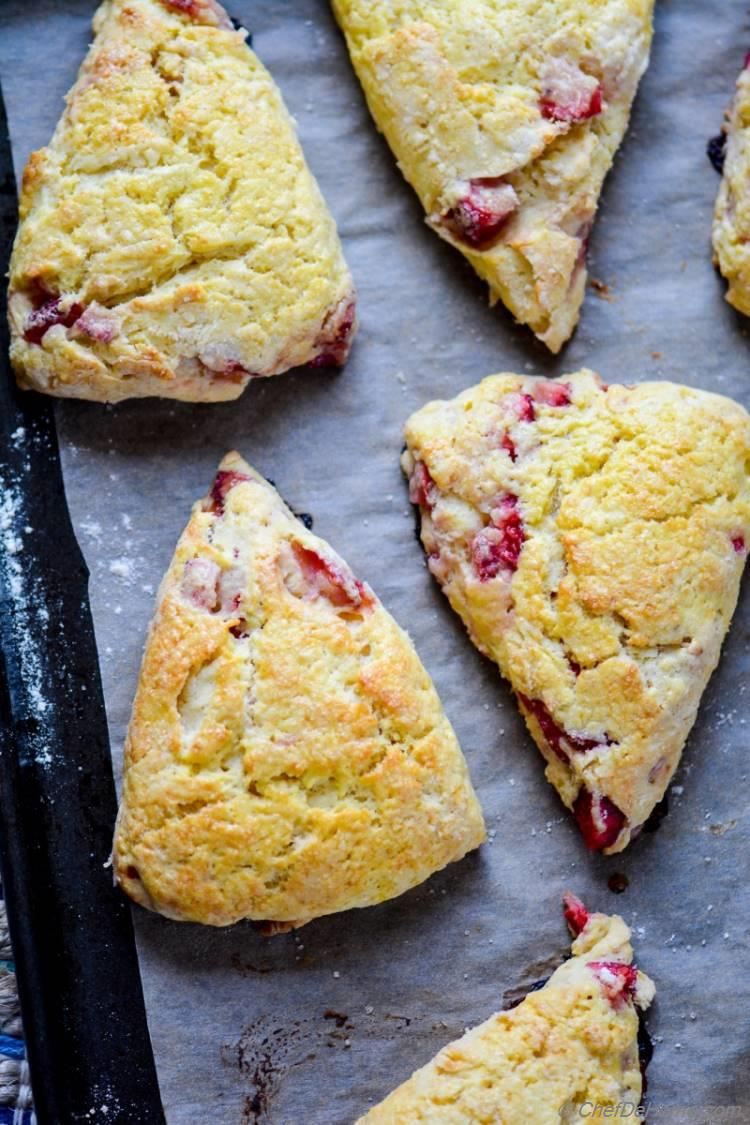 Fresh Baked Strawberry and Cream Scones for Delicious Sunday Breakfast