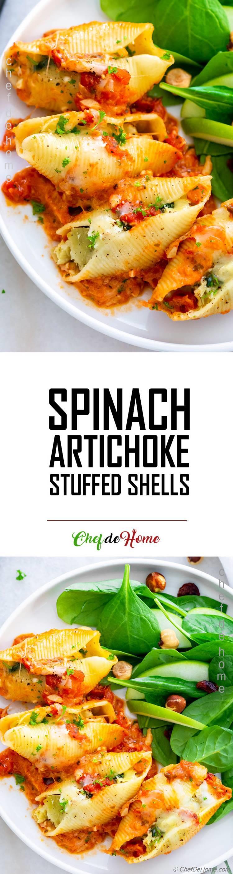 Stuffed Pasta Shells Spinach Artichokes