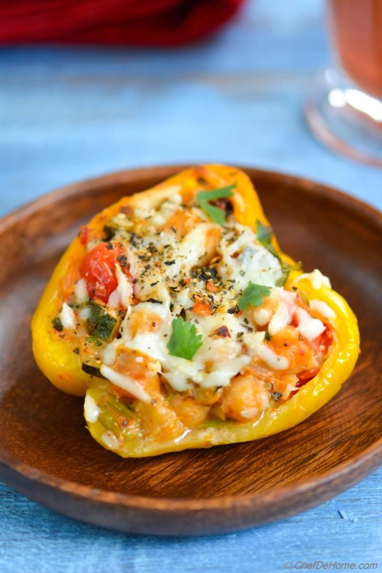 Chipotle Chickpea and Chicken Stuffed Peppers
