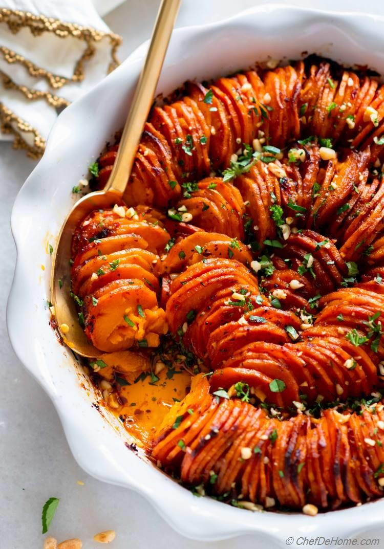 Holiday Side Sweet Potato Casserole with Chipotle Dressing