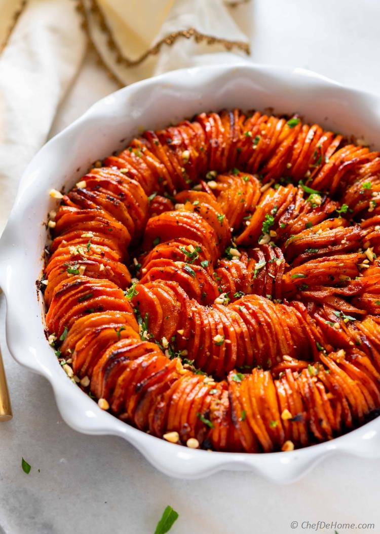 Hasselback Sweet Potatoes in Casserole