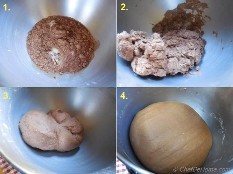 Making of Dough for Chocolate Sweet Yeast Bread