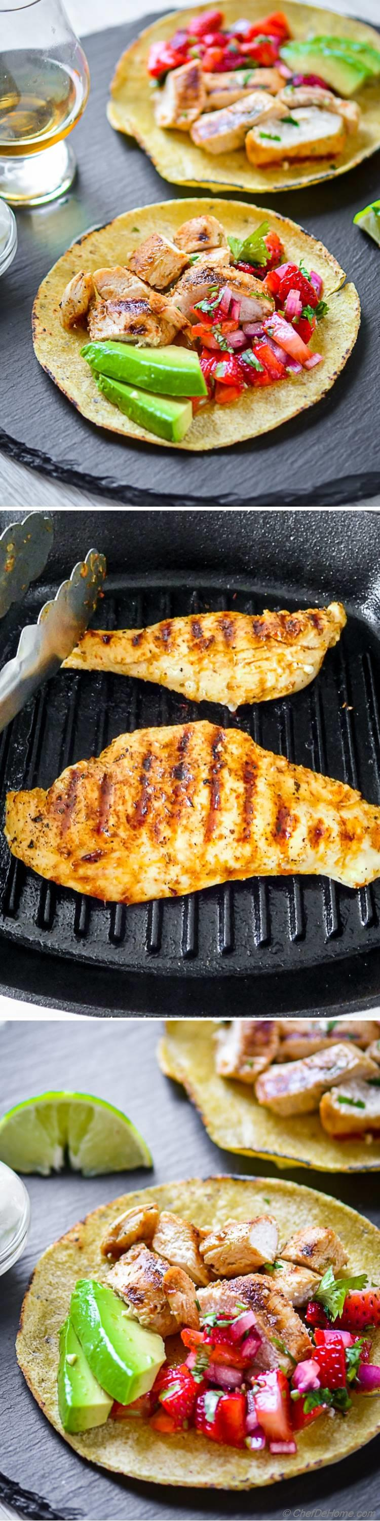 Grilled Chicken Tacos with chicken marinated tequila lime marinade | chefdehome.com