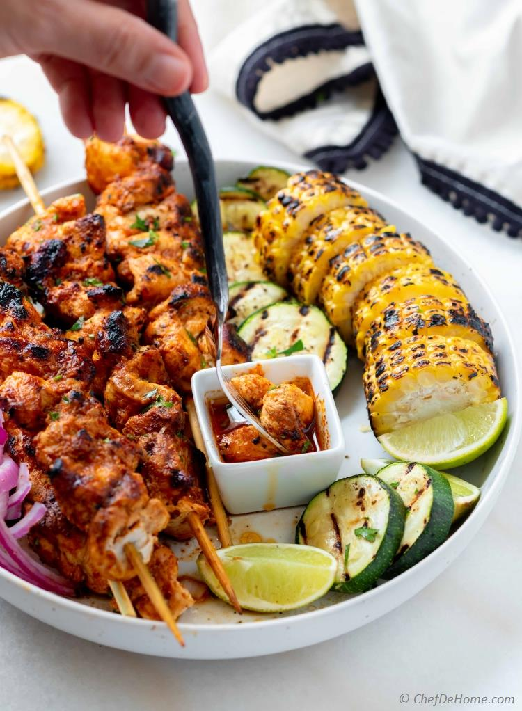 Tequila Lime Chicken Skewers with Chili Lime Marinade