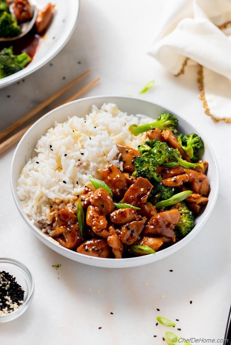 Teriyaki Sauce and Teriyaki Chicken over Bowl of Rice