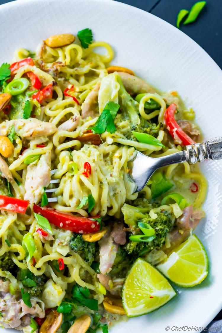 Green Curry Chicken with Ramen Noodles