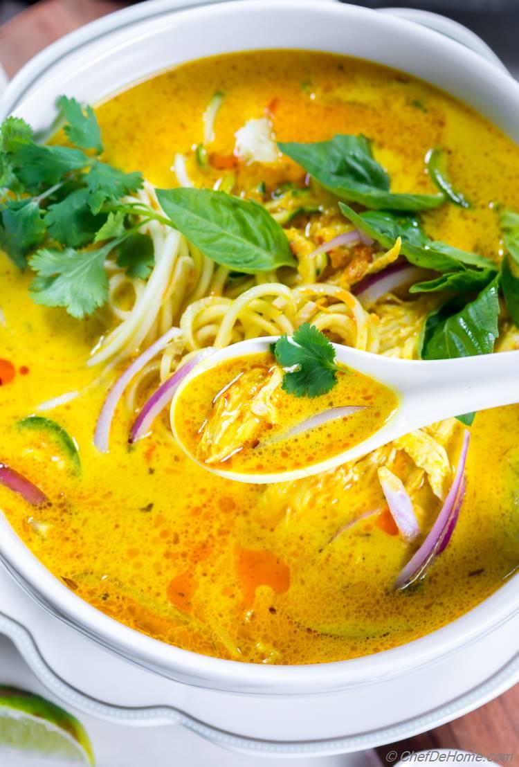 Yellow Coconut Curry Soup with Zucchini Noodles