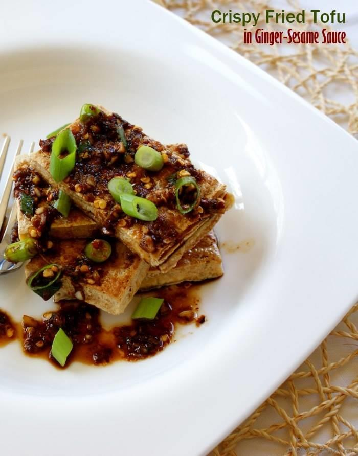 Cripsy Tofu with Ginger-Sesame Sauce