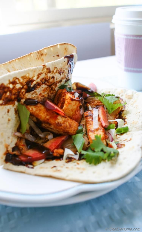 Crunchy Garlicky Tofu Wraps with Kimchi Slaw