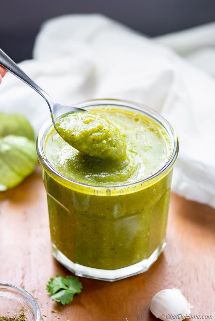 Spicy Roasted Tomatillo Enchilada Sauce Recipe
