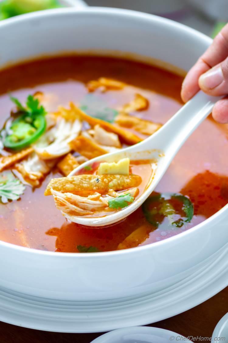 Delicious Chicken and Tortilla Soup