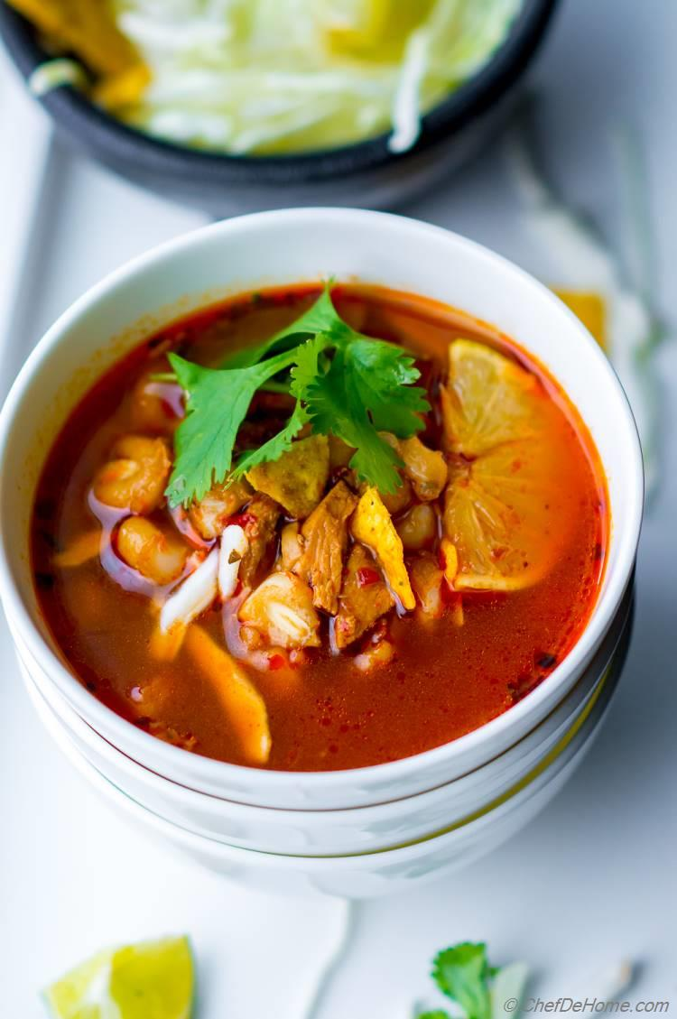 Easy Posole Rojo Soup with Turkey