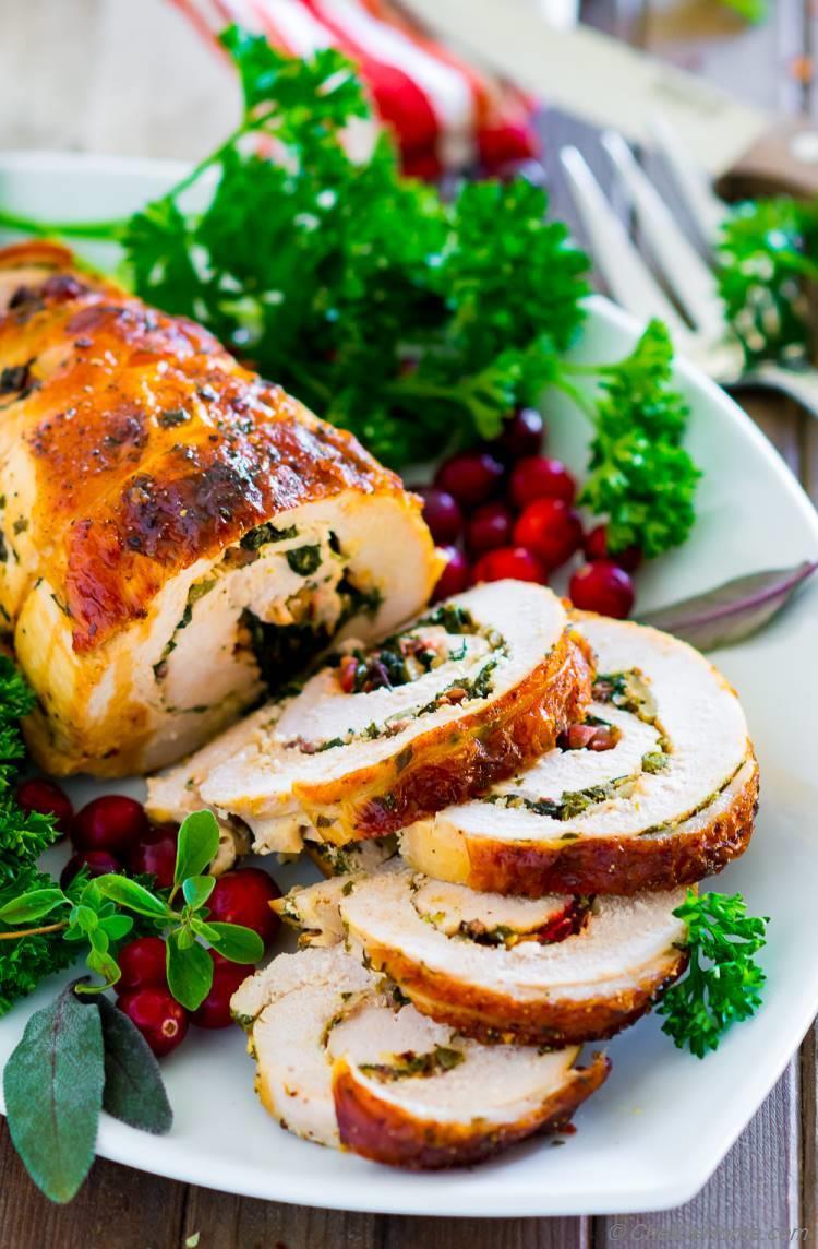 Moist Turkey Breast with Kale Stuffing