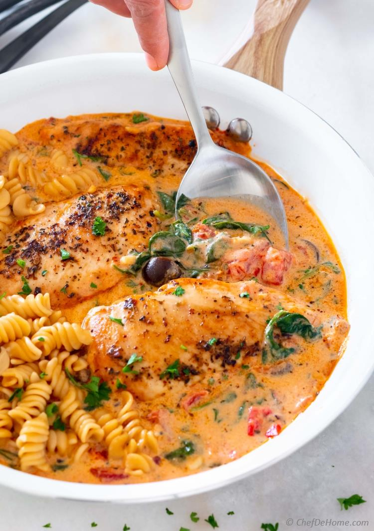 Creamy Tuscan Chicken Sauce with Pasta