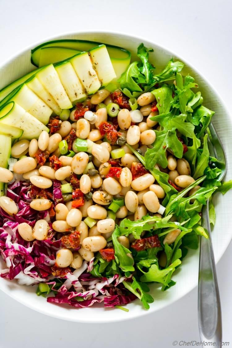 Tuscan Italian Bean Salad with Sundried Tomato Dressing