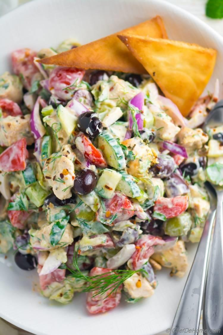 Delicious Tzatziki Chicken Salad Recipe with olives and crunchy tomatoes