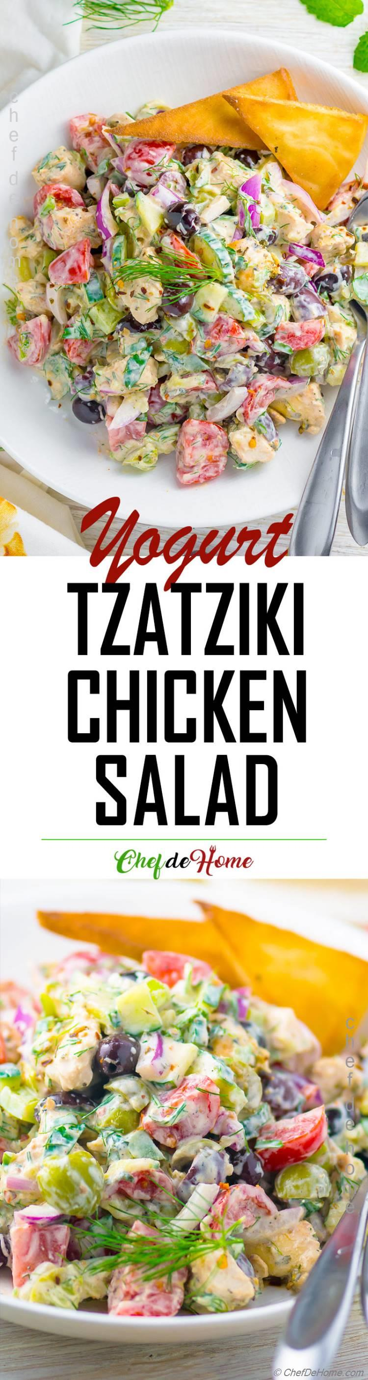 Tzatziki Chicken Salad with Yogurt Dressing Gluten free Cucumber Chicken Yogurt Salad