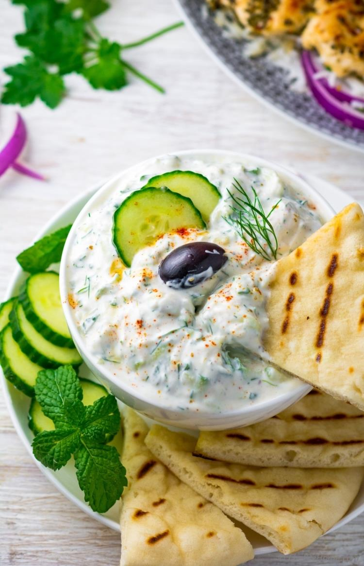Tzatziki Dip with dill mint and pita chips