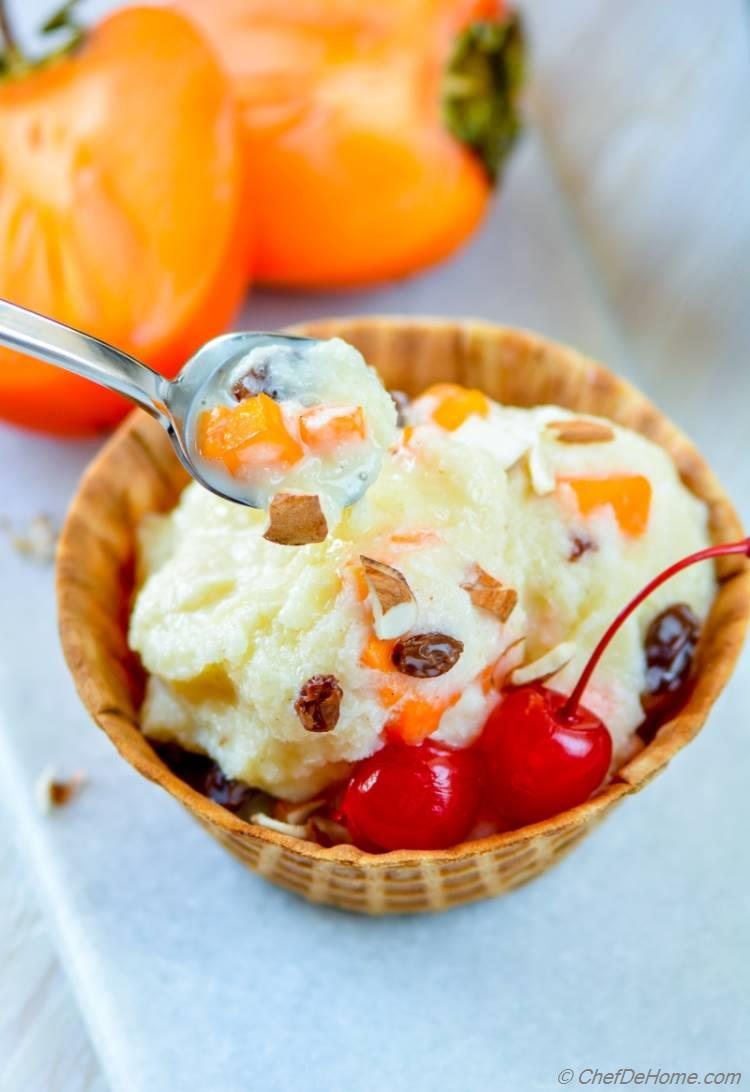 Easy Homemade Creamy Persimmon and Raisins Ice Cream for delicious Holiday Dessert | chefdehome.com