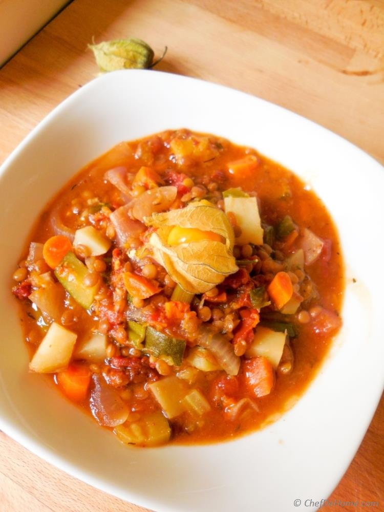 Vegetable Goulash, a hearty autumn vegetables and lentil soup!
