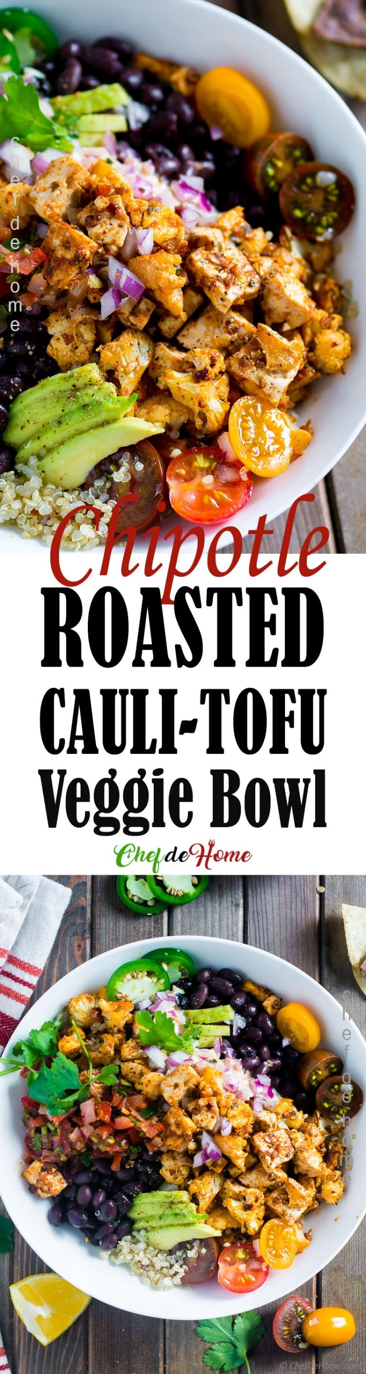 Roasted Chipotle Cauliflower Tofu Veggie Bowl