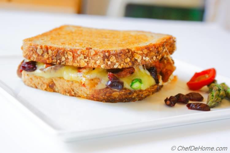 Cranberry, Asparagus and Jalapeno Grilled Cheese Sandwich