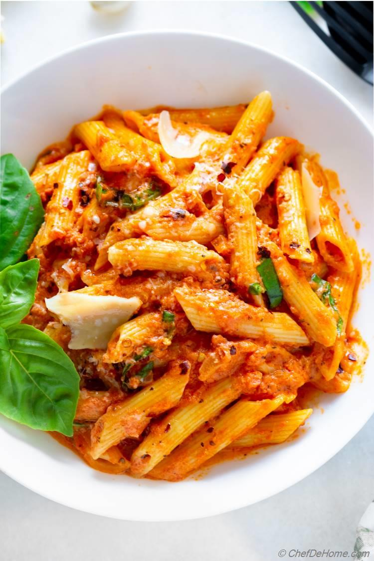 Penne Pasta Coated in Creamy Vodka Sauce