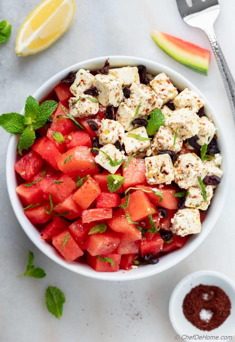 Easy Watermelon Salad with tasty dressing