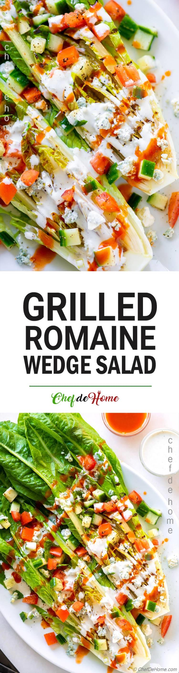 Romaine Wedge Salad with Blue Cheese Cucumber and Tomato