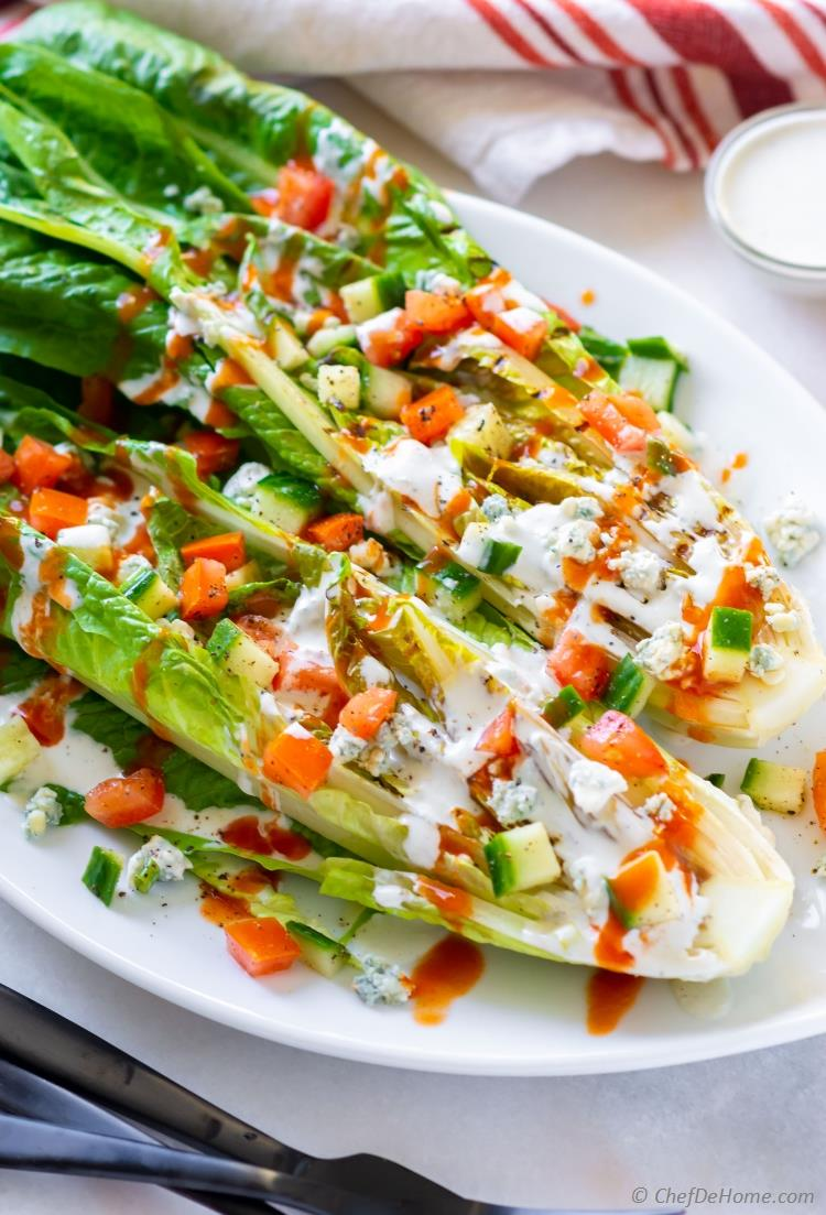 Romaine Wedge Salad with grilled romaine and blue cheese