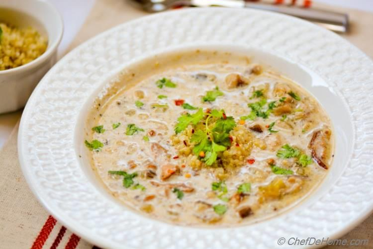 Quinoa and Wild Mushroom Soup. A simple, warm. and healthy bowl of soup. Perfect to for #winters and #fall season. #fall-food #fall-recipes #healthy #winters #soups
