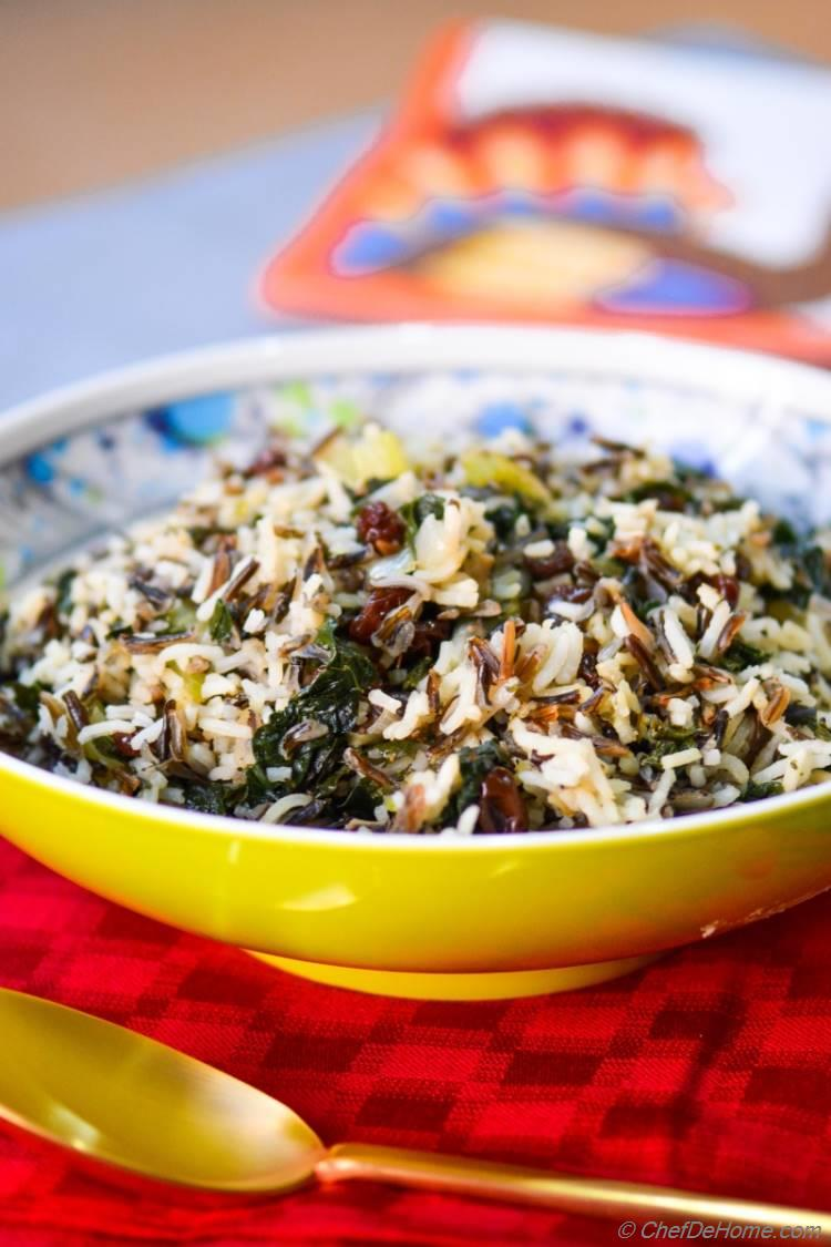 Wild Rice, Kale, and Mushroom Dressing #vegan #gluten-free #thanksgiving #dinner