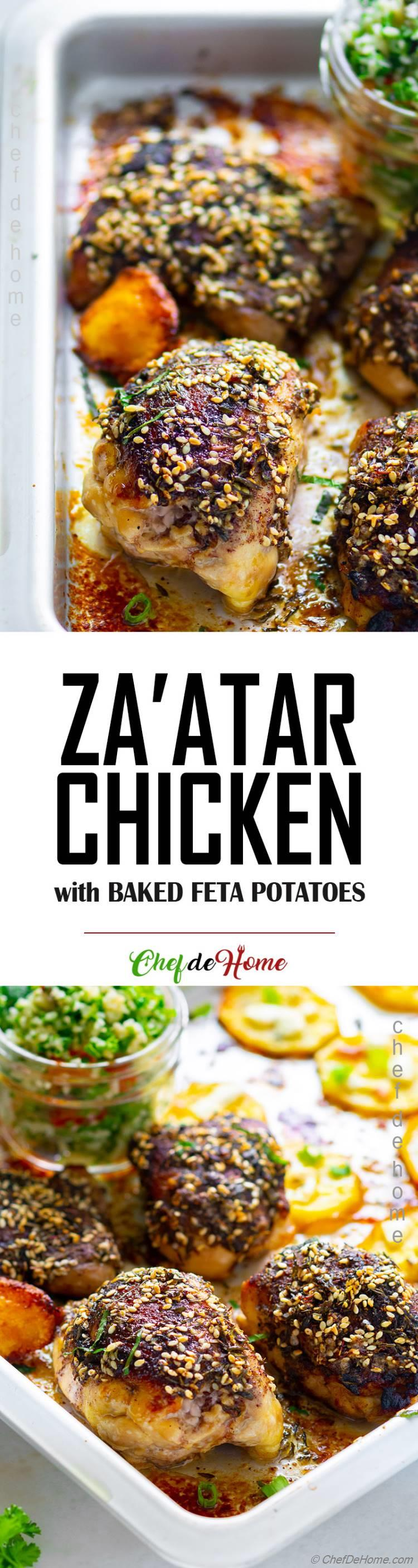 Roasted Zaatar Chicken thighs with Feta Potatoes