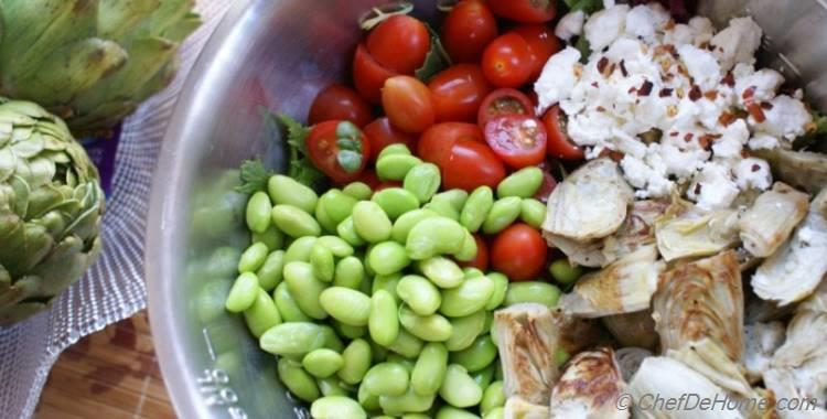 Cherry Tomatoes, Artichoke, Edamame Salad with Goat Cheese, Cilantro-Lime Vinaigrette