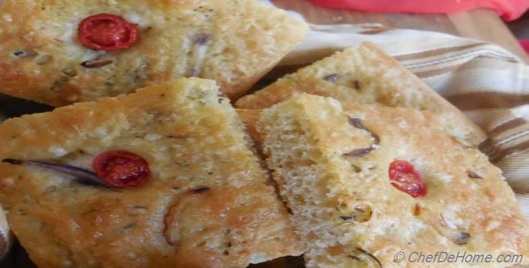 Onion and Cherry Tomato Focaccia