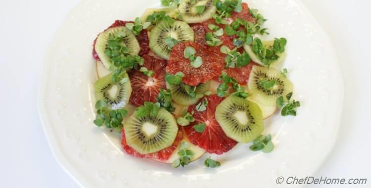 Kiwi, Apple & Blood Orange Salad with Basil Sprouts