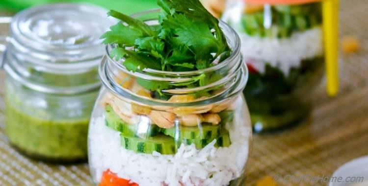 Marinated Kale and Rice Salad in a Jar