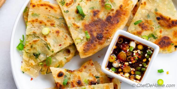 Scallion Pancake with Ginger Dipping Sauce