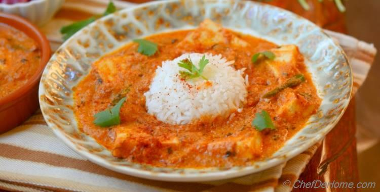 Indian Paneer Butter Masala with Pickled Pearl Onions