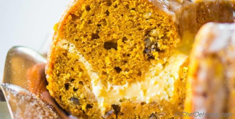 Pumpkin Bundt Cake with Cheesecake Swirl